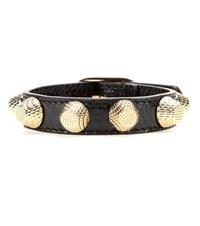 Balenciaga Giant Stud Leather Bracelet Black