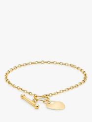 Ibb Personalised 9Ct Gold Heart Charm T Bar Chain Bracelet Gold