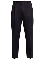 Acne Studios Abram Slim Leg Cotton Blend Trousers Navy