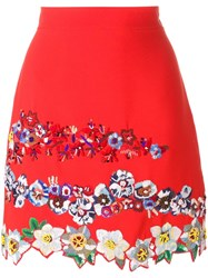 Msgm Floral Embroidery A Line Skirt Red