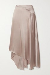 Le Kasha Asymmetric Paneled Silk Satin Skirt Beige