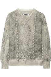 Maison Martin Margiela Cable Knit Wool Sweater Gray