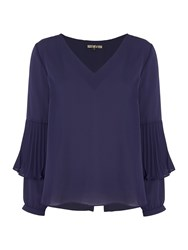 Biba V Neck Pleat Sleeve Detail Blouse Navy