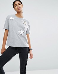 Asos T Shirt With Sequin Star Badges Grey Marl
