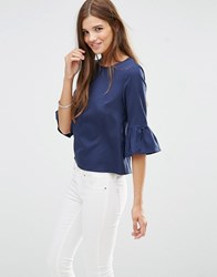 Girls On Film Top With Peplum Sleeves Blue