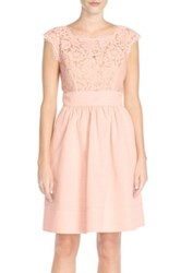 Eliza J Lace And Faille Dress Petite Pink