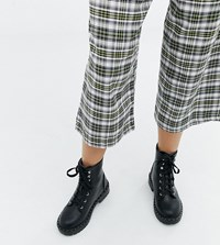 Truffle Collection Wide Fit Chunky Flat Boots Black Pu