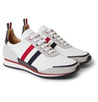 Thom Browne Grosgrain And Suede Trimmed Nylon Sneakers White