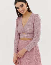 Fashion Union Wrap Front Blouse In Polka Pink