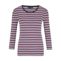 Viyella Mini Stripe Jersey Top Purple