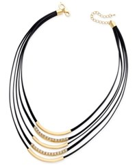 Thalia Sodi Crystal Jet Imitation Leather Gold Tone Multi Row Necklace Only At Macy's Black