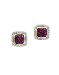 Effy 925 Diamond Ruby 18K Yellow Gold And Sterling Silver Earrings Red