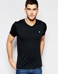 Abercrombie And Fitch T Shirt In Muscle Slim Fit With V Neck In Black Black