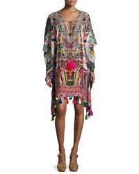 Camilla Printed Embellished Lace Up Short Caftan Coverup Multi