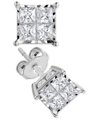 Trumiracle Princess Cut Diamond Stud Earrings 1 Ct. T.W. In 14K White Gold Or 14K Gold