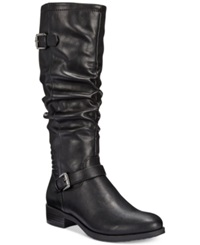 White Mountain Chip Riding Boots Women's Shoes Distressed Black