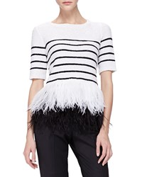 Oscar De La Renta Sequined Feather Hem Top White Black