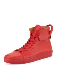 Buscemi 125Mm Leather High Top Sneaker Red