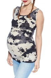 Women's Imanimo Ruched Side Maternity Tank Top Tie Dye Print Black