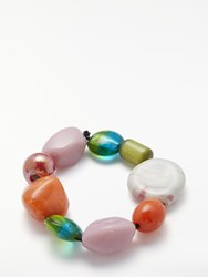 One Button Funky Fun Glass Bead Bracelet Multi