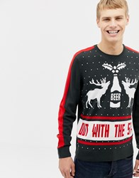 Burton Menswear Out With The Stags Christmas Jumper In Navy