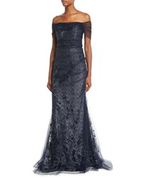 Rickie Freeman For Teri Jon Metallic Lace Off The Shoulder Mermaid Evening Gown Blue Silver