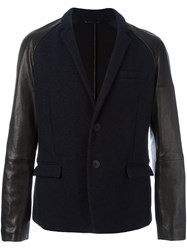 Giorgio Armani Leather Sleeve Blazer Blue