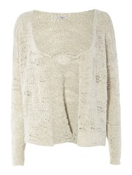 Crea Concept Knitted Cardigan With Pin Detail Silver