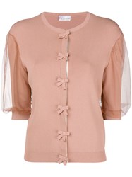 Red Valentino Short Sleeved Cardigan Pink And Purple