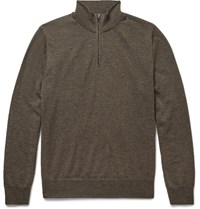 Canali Merino Wool Zip Through Sweater Brown