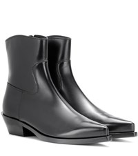 Dolce And Gabbana Leather Ankle Boots Black