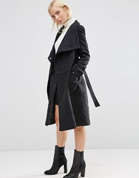 Asos Wool Blend Coat With Funnel Neck Black
