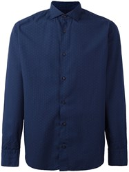 Eleventy Dot Print Shirt Blue