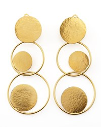 Hammered Gold Circle Drop Earrings Herve Van Der Straeten