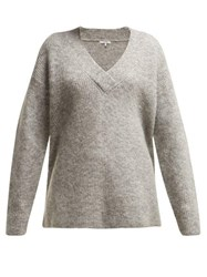 Ganni Callahan V Neck Mohair Blend Sweater Light Grey