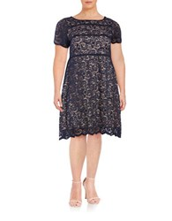 Ivanka Trump Plus Lace Overlay A Line Dress Evening Blue