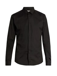 Valentino Button Cuff Slim Fit Cotton Blend Shirt Black