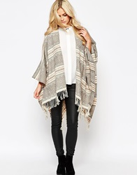 Oasis Knitted Stripe Wrap Cream