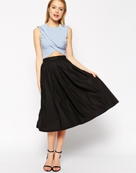 Asos Pleated Midi Linen Skirt Black