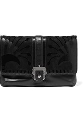 Paula Cademartori Sylvie Suede And Croc Effect Trimmed Leather Clutch Black