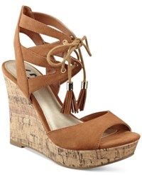 G By Guess Estes Platform Wedge Sandals Women's Shoes Tan