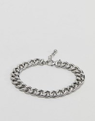 Asos Design Midweight Chain Bracelet In Silver