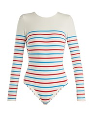 Solid And Striped The Margon Long Sleeved Swimsuit Multi Stripe