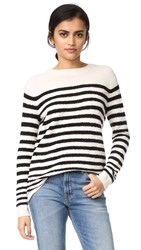 Vince Engineered Striped Pullover Off White Black
