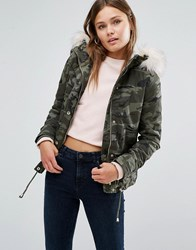 New Look Camo Jacket With Faux Fur Hood Green Pattern