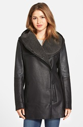 Sam Edelman 'Sydney' Hooded Faux Shearling Coat Black