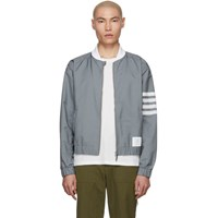 Thom Browne Grey Swim Tech 4 Bar Bomber Jacket