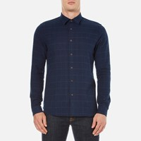 Folk Men's Checked Long Sleeve Shirt Navy Window Pane