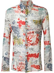 Jean Paul Gaultier Vintage Graffiti Print Shirt Nude And Neutrals