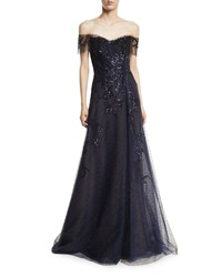 Rene Ruiz Off The Shoulder Beaded Gown Navy